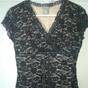 Ann Taylor black lace with nude top
